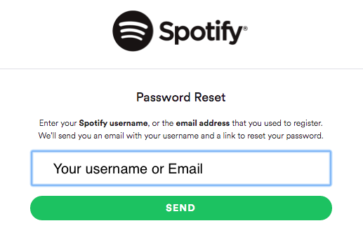 the spotify application not responding_reset username