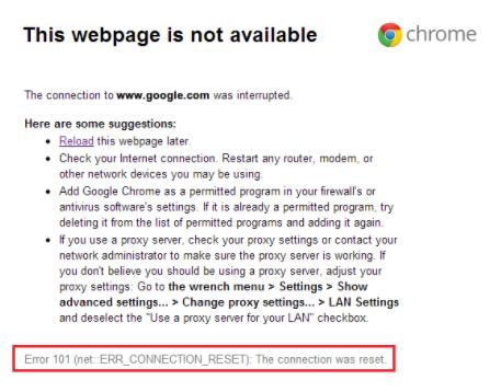 Chrome ERR_CONNECTION_RESET Error