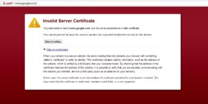 Google Chrome Certificate Error