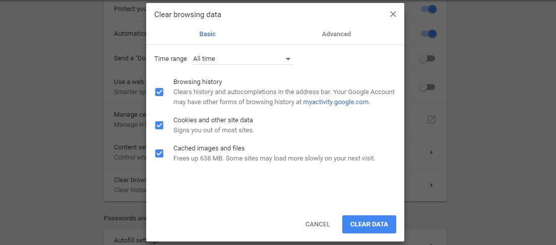 youtube playback id error remove browsing data