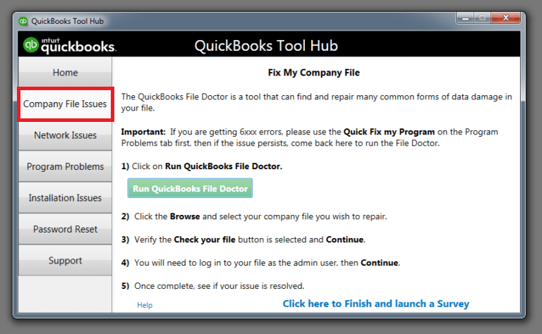 Company File Issue- tool hub