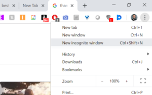 Use Incognito Window in Chrome Browser