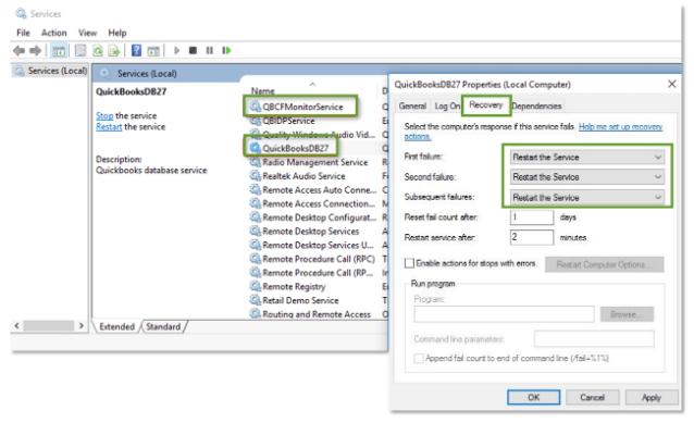 autostart services not running qbcfmonitorservice