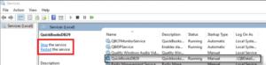 Restart QuickBooksDB Service