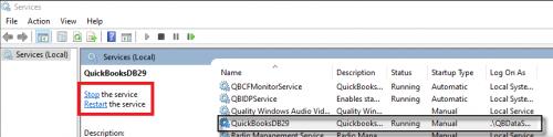 Restart QuickBooksDB Service- qbdbmgrn.exe