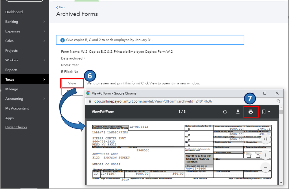 how to reprint w2 in quickbooks